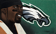 Black Pastels Framed Prints - Michael Vick Framed Print by L Cooper