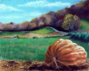 Autumn Scenes Pastels Posters - Michaels Great Pumpkin Poster by Marcus Moller