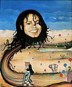 Michael Jackson Portrait Painting Originals - Michaels World by Jordana Sands