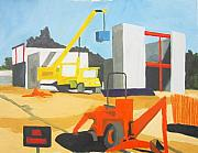 Crane Painting Originals - Micheles and Booth Construction Pensacola by Jahna Jacobson