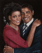 Barack Obama Painting Prints - Michelle and Barack Print by Diane Bombshelter