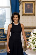 Dresses Metal Prints - Michelle Obama 1964-, In Her Official Metal Print by Everett