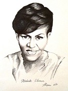 Obama Drawings Framed Prints - Michelle Obama Framed Print by A Karron