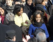 Michelle Obama Metal Prints - Michelle Obama And Daughters Malia Metal Print by Everett