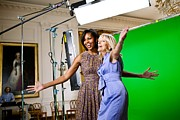 First Ladies Framed Prints - Michelle Obama And Jill Biden Joke Framed Print by Everett