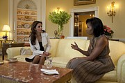 First Lady Photo Framed Prints - Michelle Obama And Queen Rania Framed Print by Everett