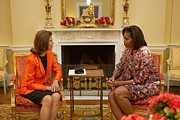Michelle Obama Framed Prints - Michelle Obama And Queen Silvia Framed Print by Everett