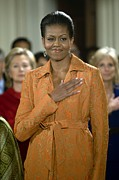 Hand On Heart Prints - Michelle Obama At A Public Appearance Print by Everett