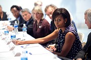 Lady Washington Prints - Michelle Obama Attends A Meeting Print by Everett
