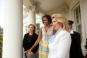 Dresses Prints - Michelle Obama Hosts First Lady Print by Everett