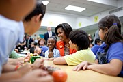 Michelle Obama Framed Prints - Michelle Obama Joins Students Framed Print by Everett