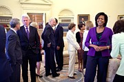 Bswh Framed Prints - Michelle Obama Laughs With Guests Framed Print by Everett