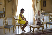 Michelle Obama Framed Prints - Michelle Obama Meets With Clio Framed Print by Everett