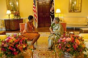 Michelle Obama Metal Prints - Michelle Obama Meets With Mrs Metal Print by Everett