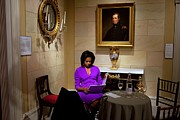 Michelle Obama Framed Prints - Michelle Obama Prepares Before Speaking Framed Print by Everett