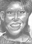 Portrait Of Michelle Obama Drawings - MIchelle Obama by Thomasina Marks