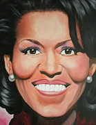First Lady Painting Framed Prints - Michelle Obama Framed Print by Timothe Winstead