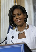 Michelle Obama Visited The Treasury Print by Everett