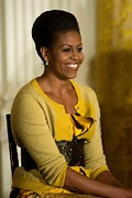 The  White House Framed Prints - Michelle Obama Wearing A J. Crew Framed Print by Everett