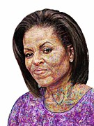 Michelle Obama Painting Prints - Michelle Obama with an Ipad Print by Edward Ofosu