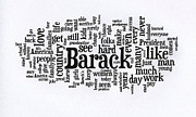 Michelle Prints - Michelle Obama Wordcloud at D N C Print by David Bearden