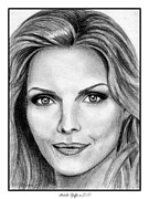 Award Drawings Metal Prints - Michelle Pfeiffer in 2010 Metal Print by J McCombie