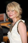 Gold Dress Framed Prints - Michelle Williams Wearing A 3.1 Phillip Framed Print by Everett