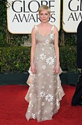 Ruffled Dress Prints - Michelle Williams Wearing A Valentino Print by Everett