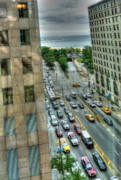 Lake Shore Drive Prints - Michigan Avenue at Lake Michigan Print by David Bearden
