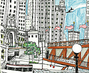 Bridge Drawings - Michigan Avenue Bridge in August by Katie Jurkiewicz