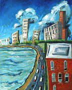 Lake Michigan Painting Originals - Michigan Avenue by Charlie Spear