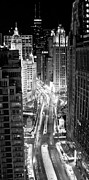 Winter Night Photo Prints - Michigan Avenue Print by George Imrie Photography