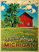 Michigan Country Red Barn Print by Flo Karp