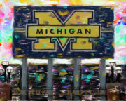Football Paintings - Michigan Football by Donald Pavlica