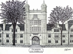 College Buildings Drawings Mixed Media Originals - Michigan by Frederic Kohli