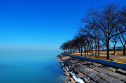 Winter Prints Digital Art Prints - Michigan Lakeshore in Chicago Print by Mingqi Ge