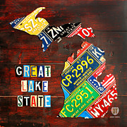 Transportation Mixed Media Metal Prints - Michigan License Plate Map Metal Print by Design Turnpike