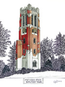 College Buildings Drawings Mixed Media Originals - Michigan State by Frederic Kohli