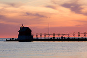 Breakwater - Michigan Sunset by Adam Romanowicz