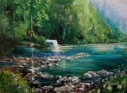Waterfalls Paintings - Michigan Upper Peninsula Falls by Kym Inabinet