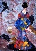 Ideal Mixed Media Posters - MICHIKO a Japanese Geisha in a blue and red kimono Poster by Phil Albone