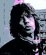 British Portraits Painting Posters - Mick Jagger in London Poster by David Lloyd Glover