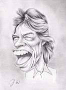 Rock N Roll Drawings Prints - Mick Jagger Print by Jamie Warkentin