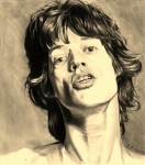 Mick Jagger Drawings - Mick Jagger by Kohdai Kitano