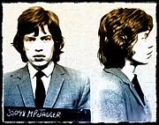 Mug Shot Posters - Mick Jagger Mugshot Poster by Bill Cannon