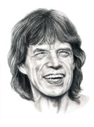 Famous People Drawings - Mick Jagger by Murphy Elliott