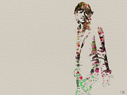 British Rock Star Prints - Mick Jagger watercolor Print by Irina  March