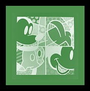 Drab Framed Prints - MICKEY in NEGATIVE OLIVE GREEN Framed Print by Rob Hans