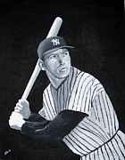 Yankees Painting Originals - Mickey Mantle by Edwin Alverio