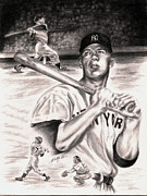 Graphite Portrait Drawings Prints - Mickey Mantle Print by Kathleen Kelly Thompson